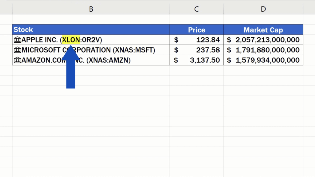 How to Get Stock Prices in Excel - stock exchange for Apple has changed