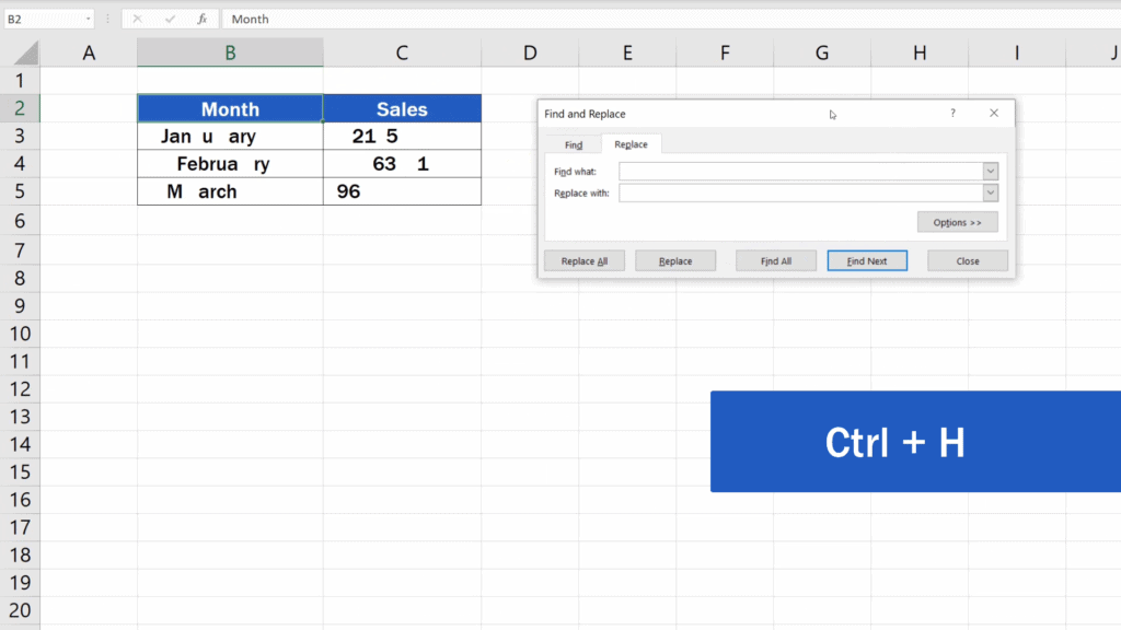 How to Remove Spaces in Excel - Ctr + H