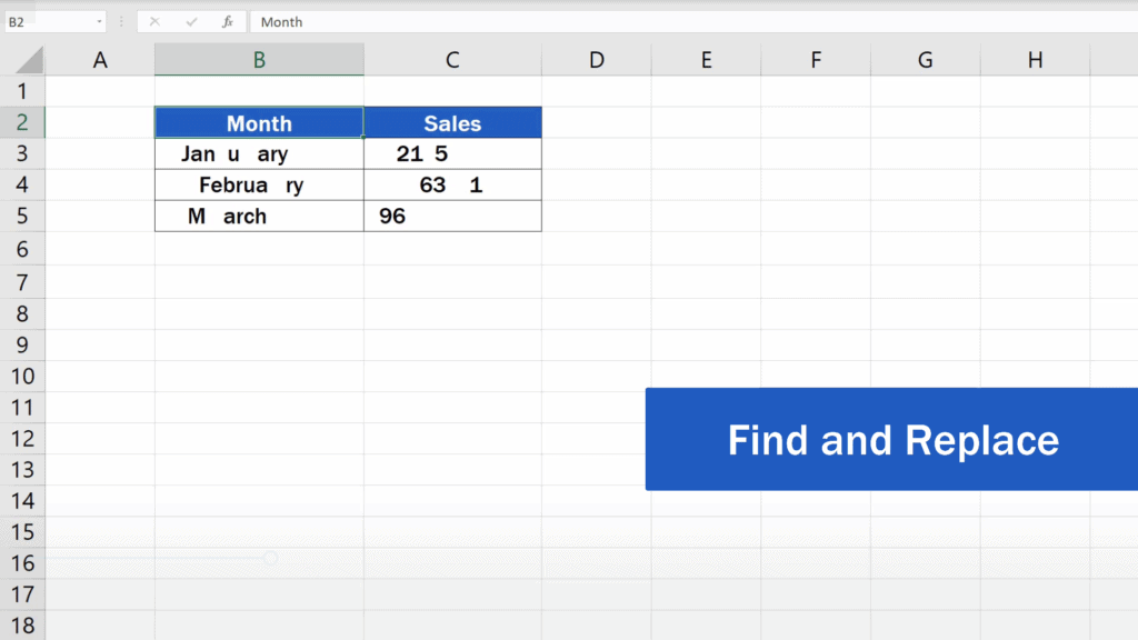How to Remove Spaces in Excel - Find and Replace Option
