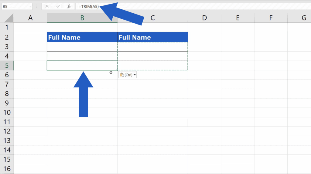 How to Remove Spaces in Excel - excel copies the function itself