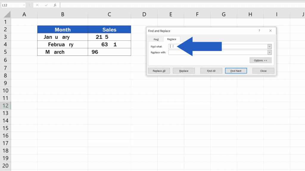 How to Remove Spaces in Excel - find what
