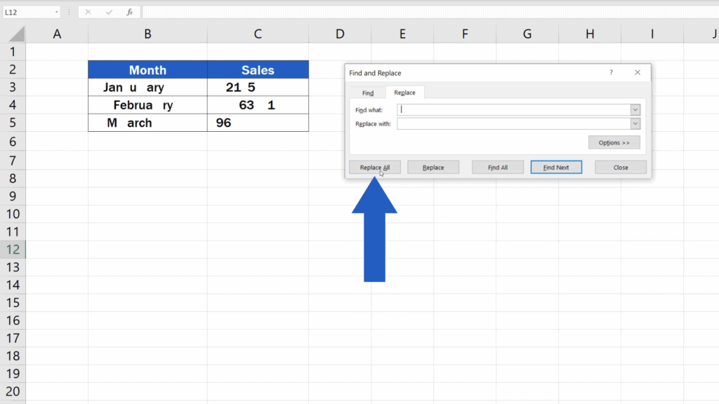 How to Remove Spaces in Excel - replace all