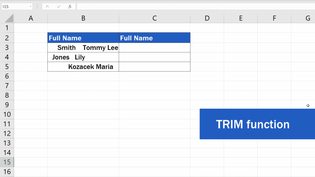 How to Remove Spaces in Excel - trim function
