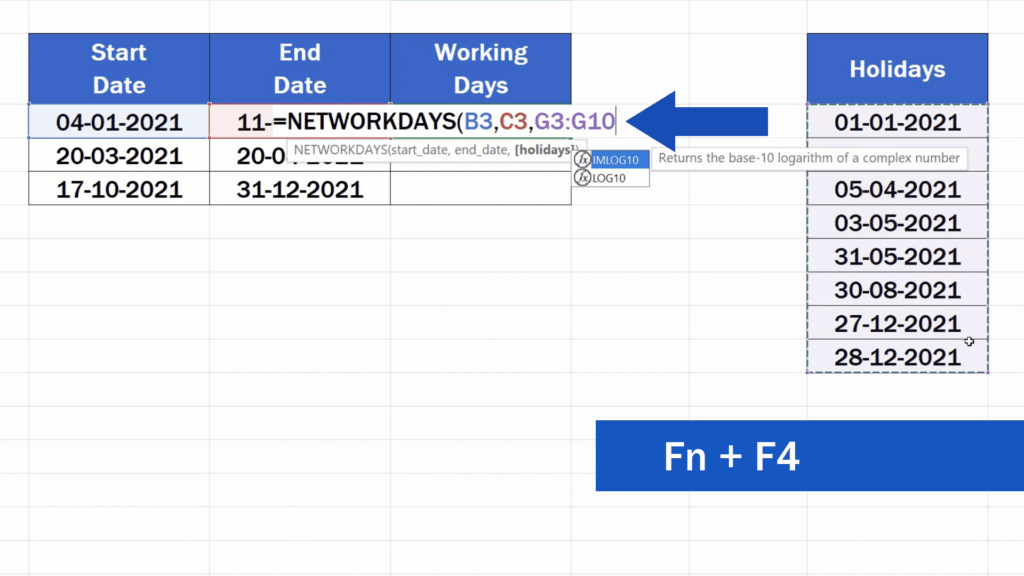 How to Calculate Working Days in Excel - Function key pressed together with F4