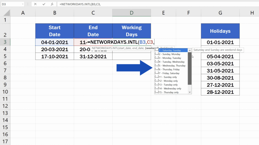 How to Calculate Working Days in Excel - NETWORKDAY.INTL formula