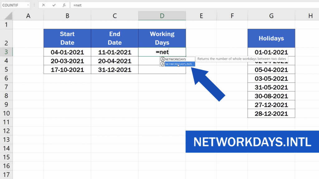 How to Calculate Working Days in Excel - NETWORKDAY.INTL