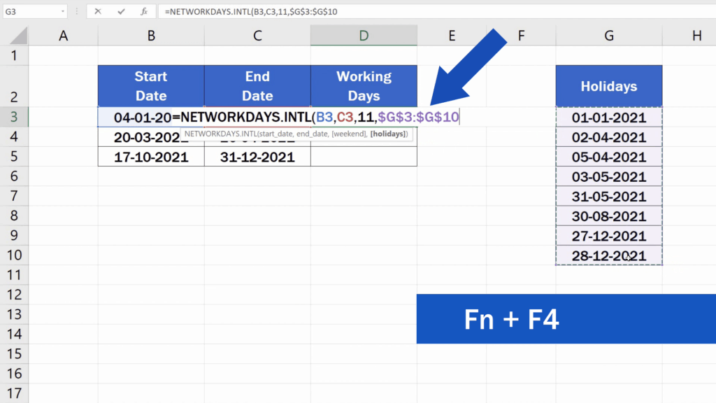 How to Calculate Working Days in Excel - absolute reference