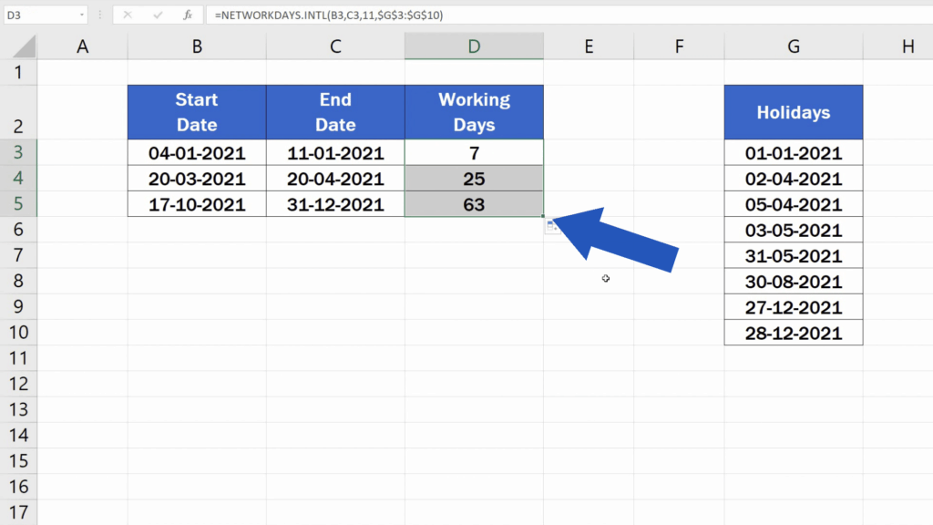 How to Calculate Working Days in Excel - copy the function