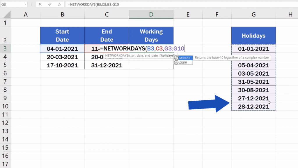 How to Calculate Working Days in Excel - enter the details