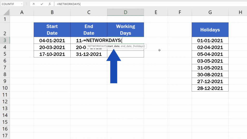 How to Calculate Working Days in Excel - enter the following details