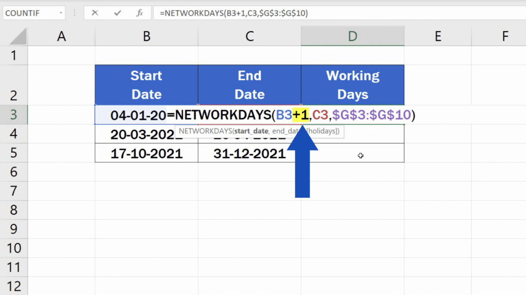 How to Calculate Working Days in Excel - excluding the start date