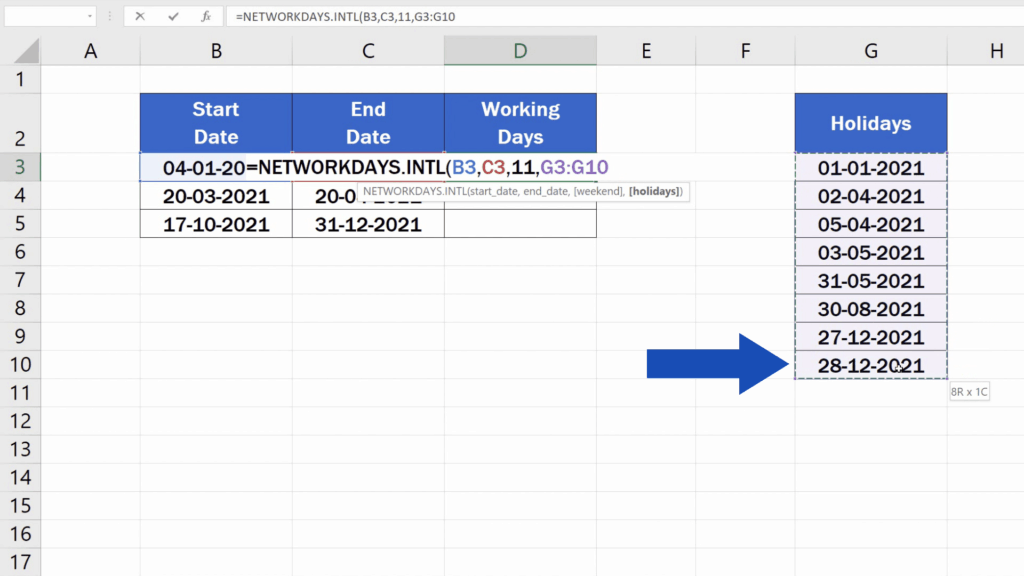 How to Calculate Working Days in Excel - holiday days
