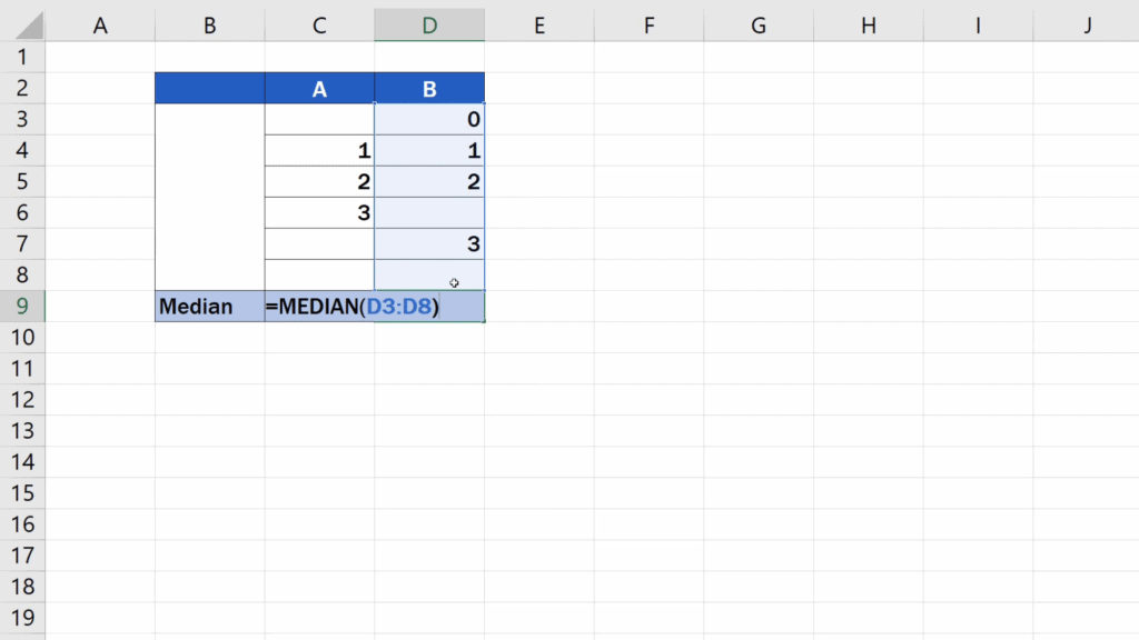 How to Calculate the Median in Excel - calculating the median - B