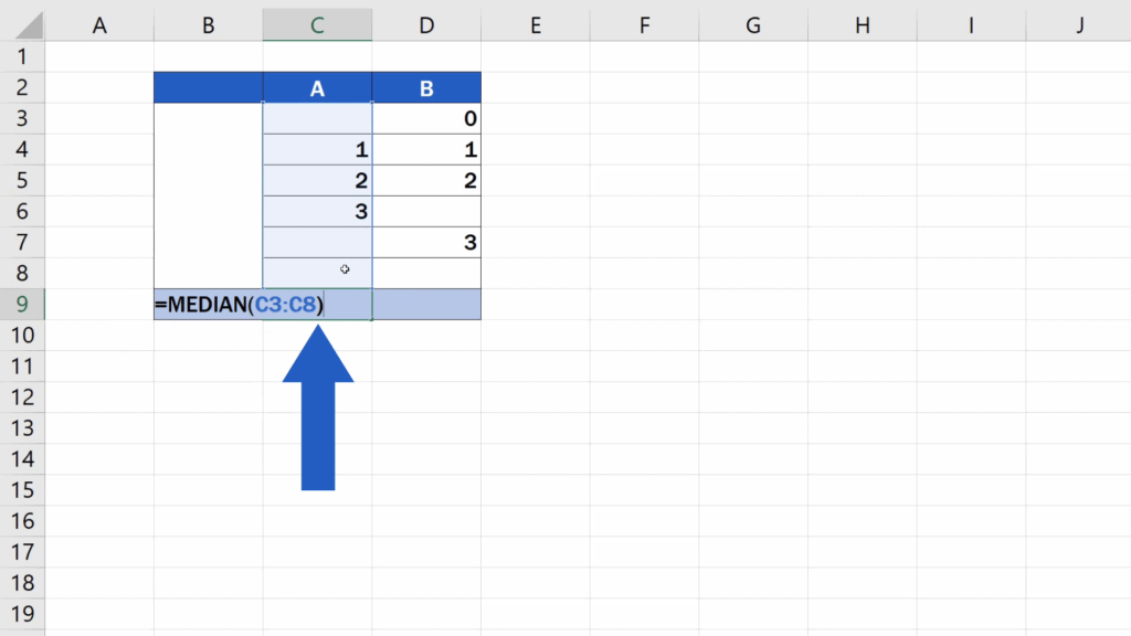 How to Calculate the Median in Excel - enter the set of numbers for the calculation of the median