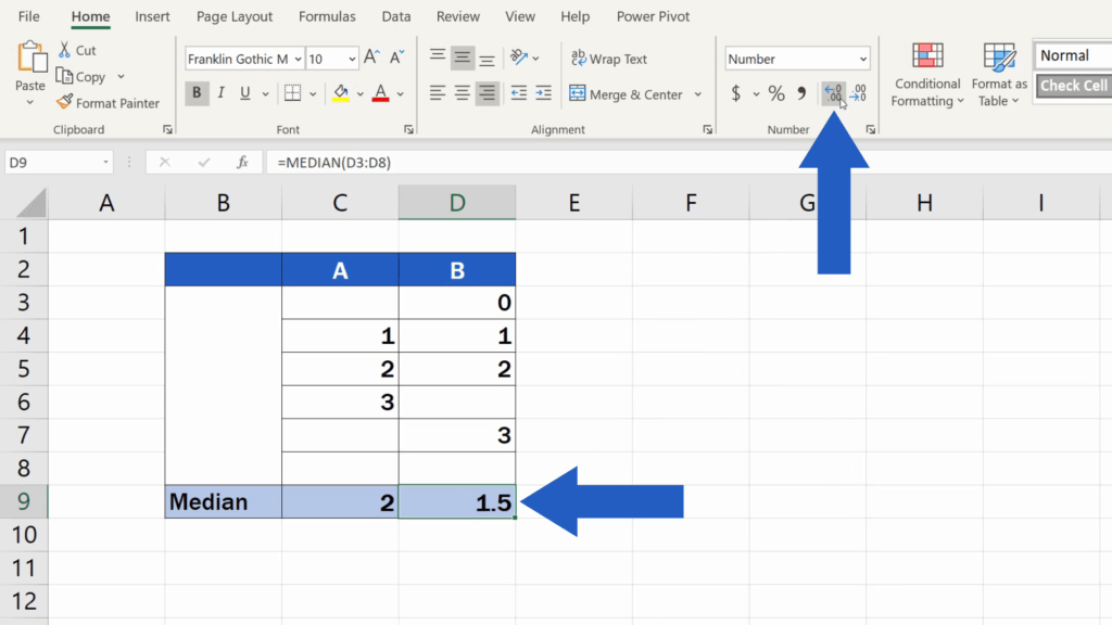 How to Calculate the Median in Excel - format the cell to show decimal places