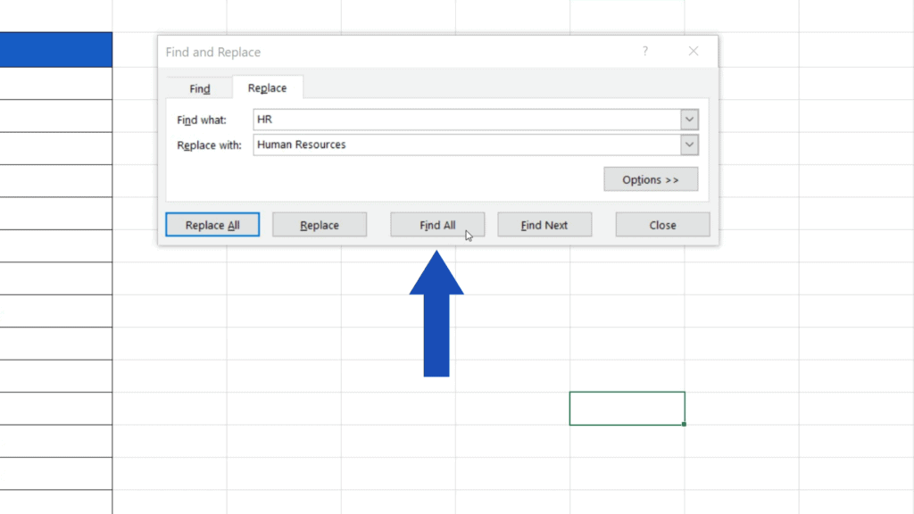 How to Replace Words in Excel - Click on Find All