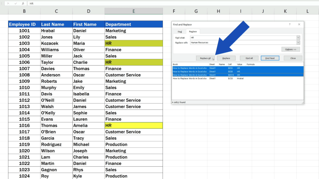 How to Replace Words in Excel - Click on Replace All