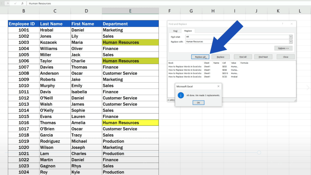 How to Replace Words in Excel - Excel replaces only the selected phrases