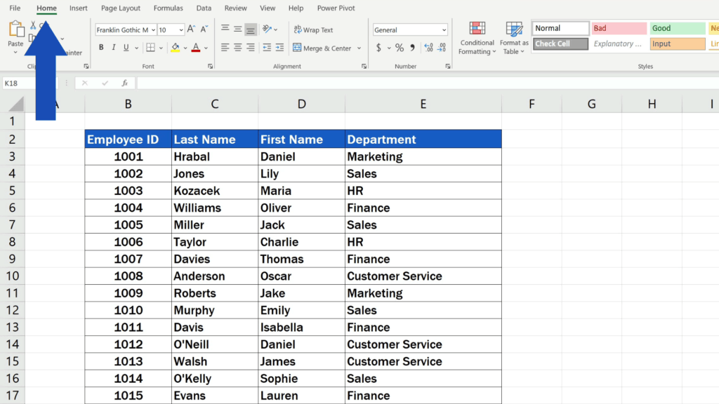 How to Replace Words in Excel - Home Tab