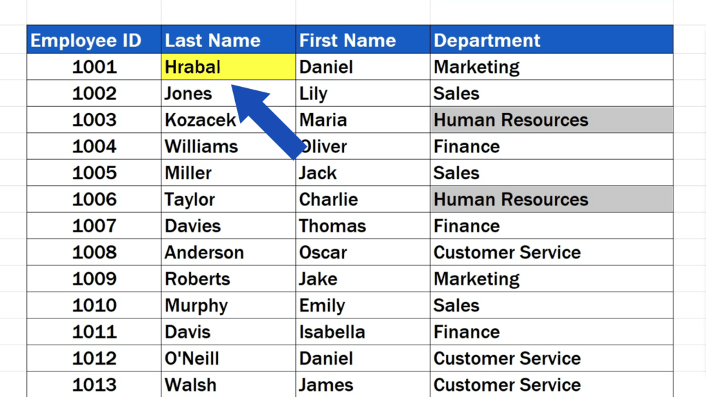 How to Replace Words in Excel - The name 'Hrabal' has been left unchanged