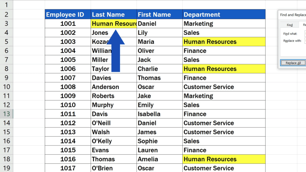 How to Replace Words in Excel - replace the letters 'Hr' in the name 'Hrabal'