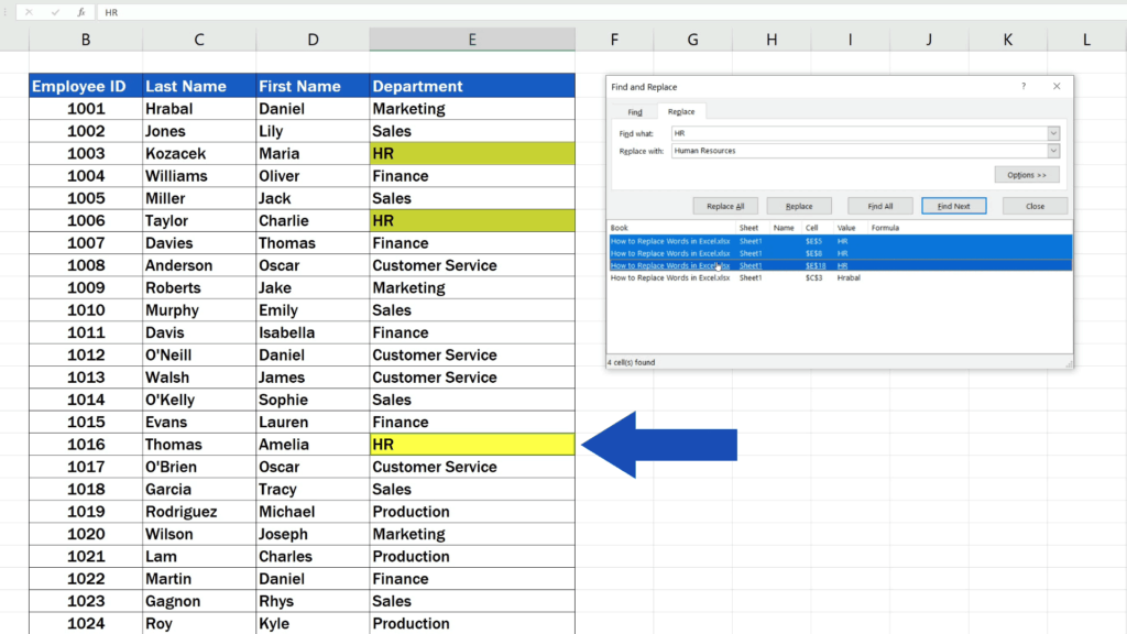 How to Replace Words in Excel - selected only the phrases we really want to change