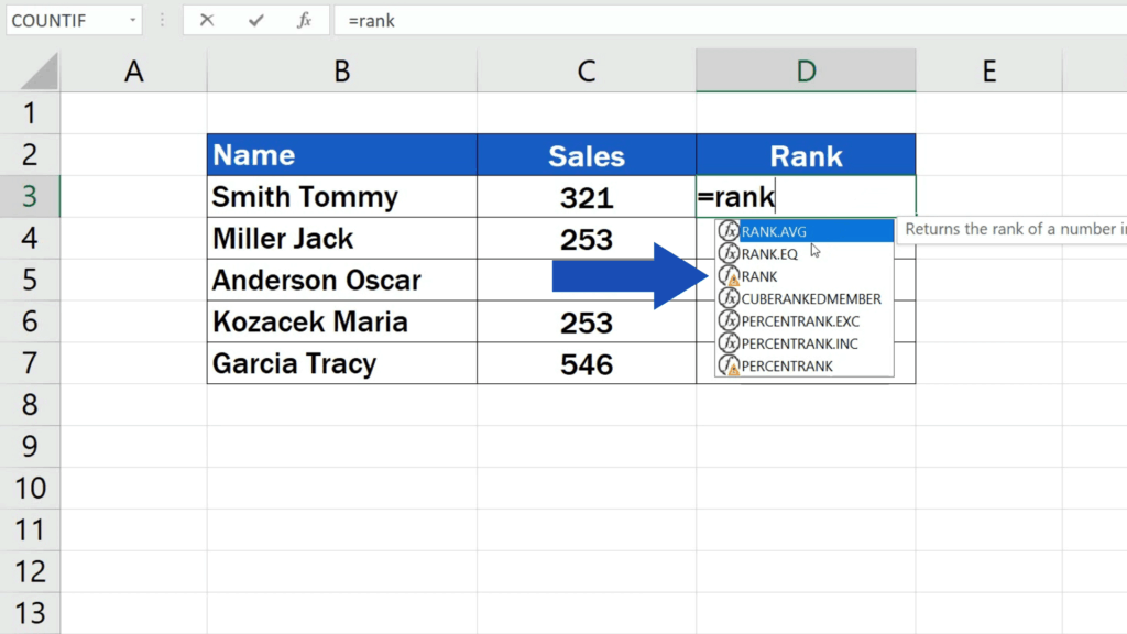 How to Calculate aRank in Excel - Rank function