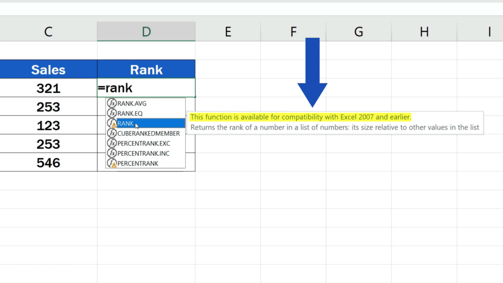How to Calculate aRank in Excel - Rank function only available for compatibility with Excel 2007 and earlier