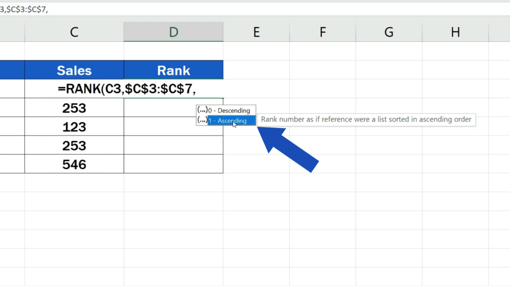 How to Calculate aRank in Excel - ascending rank