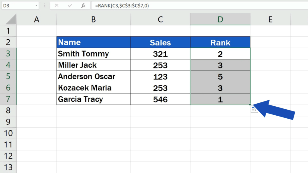 How to Calculate aRank in Excel - copy the function