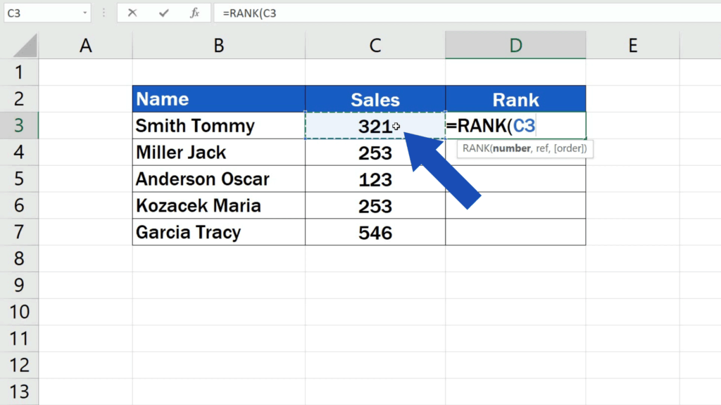 How to Calculate aRank in Excel - enter the number we want to calculate the rank for
