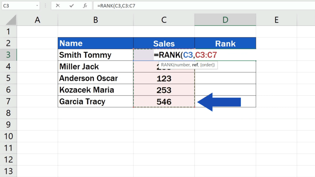 How to Calculate aRank in Excel - numbers of the data set which we want to compare and evaluate