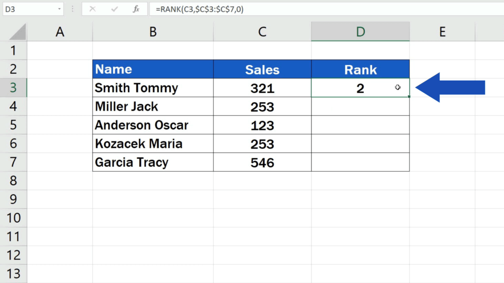 How to Calculate aRank in Excel - the position of Tommy's sales compared to the sales by the rest of the salesmen