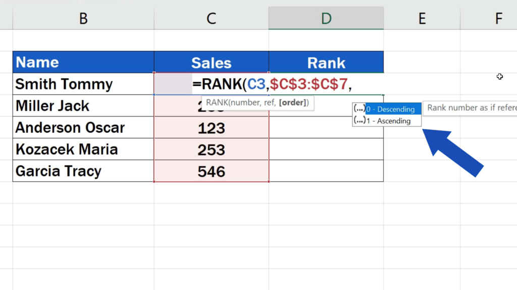 How to Calculate aRank in Excel - the rank to be descending or ascending