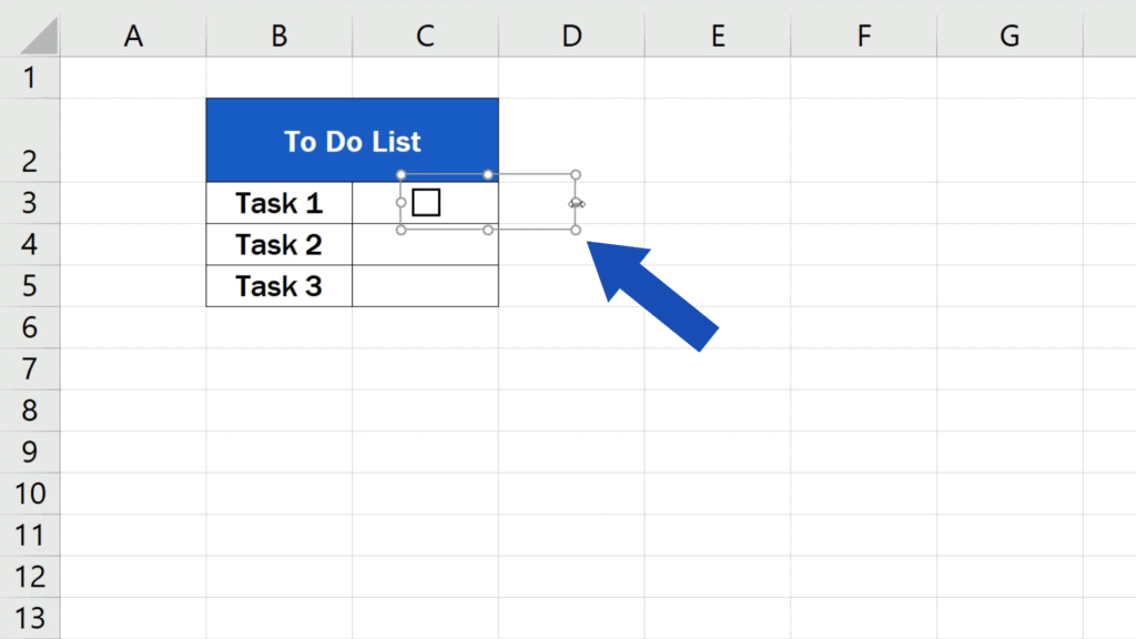 How to Insert aCheckbox in Excel - Use these little circles to set the right size of the area.