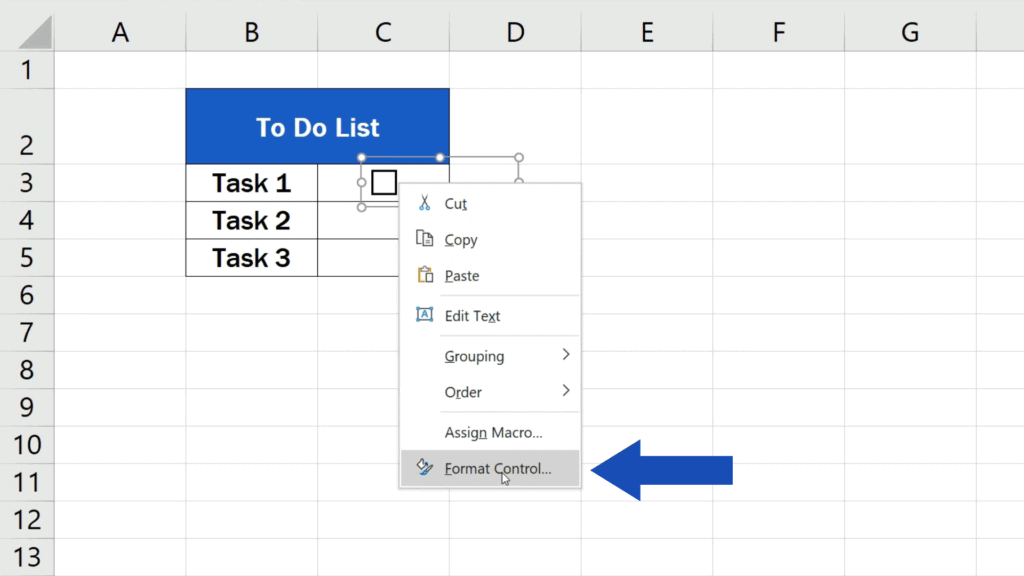 How to Insert aCheckbox in Excel - adjust the checkbox