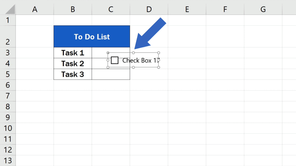 How to Insert aCheckbox in Excel - checkbox inserted