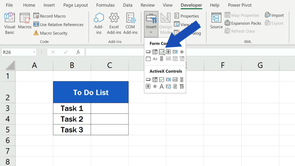 How to Insert aCheckbox in Excel - click on the check box