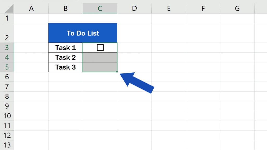 How to Insert aCheckbox in Excel - copy the checkbox