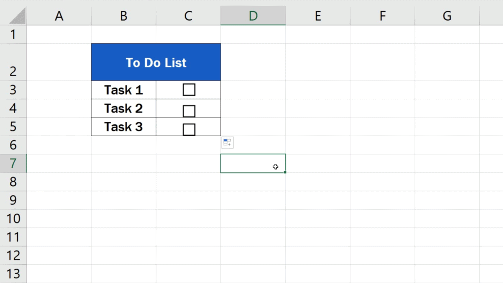 How to Insert aCheckbox in Excel - copy the checkbox to the rest