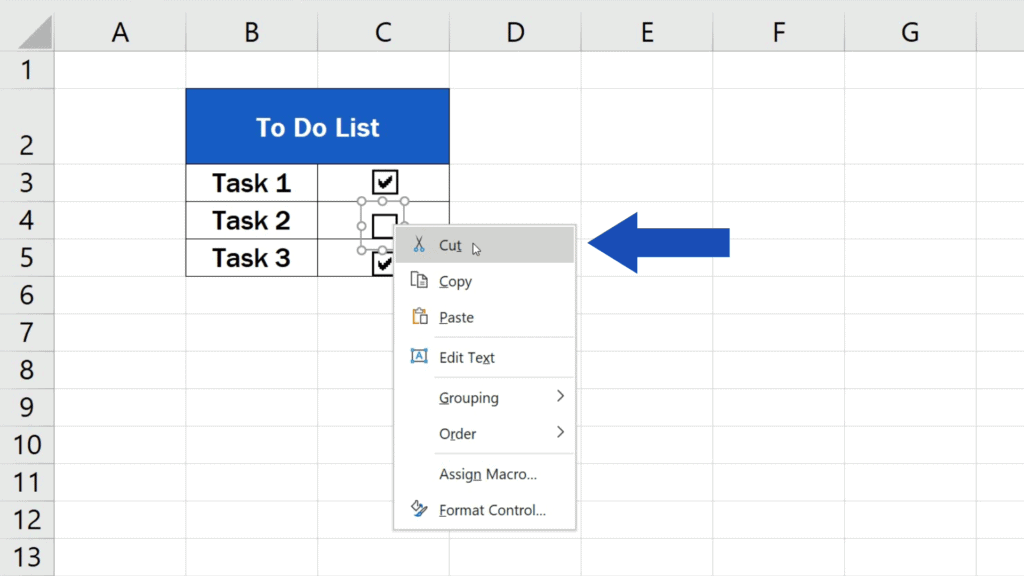 How to Insert aCheckbox in Excel - remove the checkbox