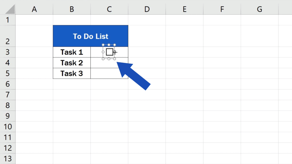 How to Insert aCheckbox in Excel - set the right size of the area