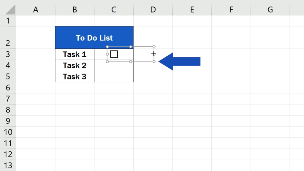 How to Insert aCheckbox in Excel - the area extends beyond the cell border