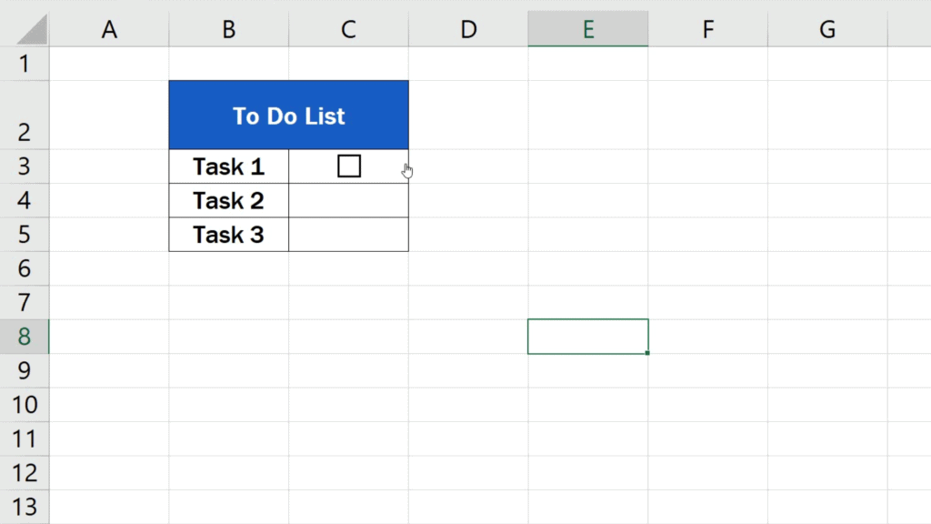 How to Insert aCheckbox in Excel - untick the checkbox