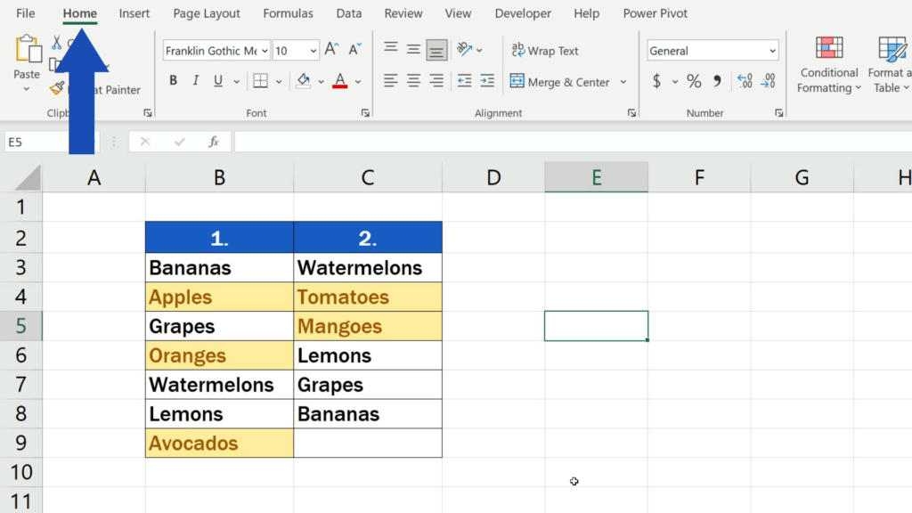 How to Compare Two Columns in Excel to Find Differences - Go to the Home tab once again