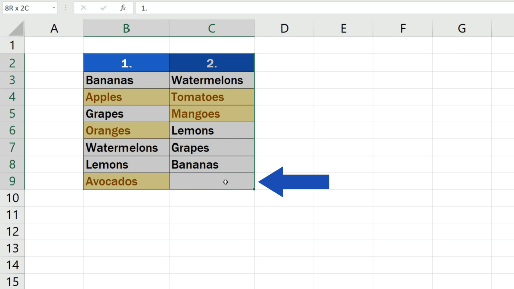 How to Compare Two Columns in Excel to Find Differences - Select the whole area
