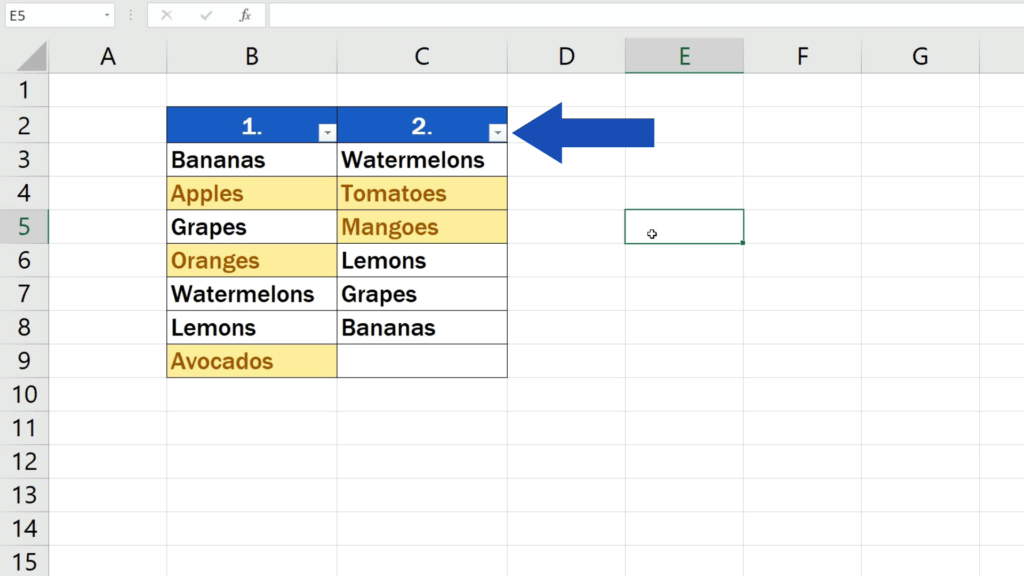 How to Compare Two Columns in Excel to Find Differences - The filter option now shows in the header