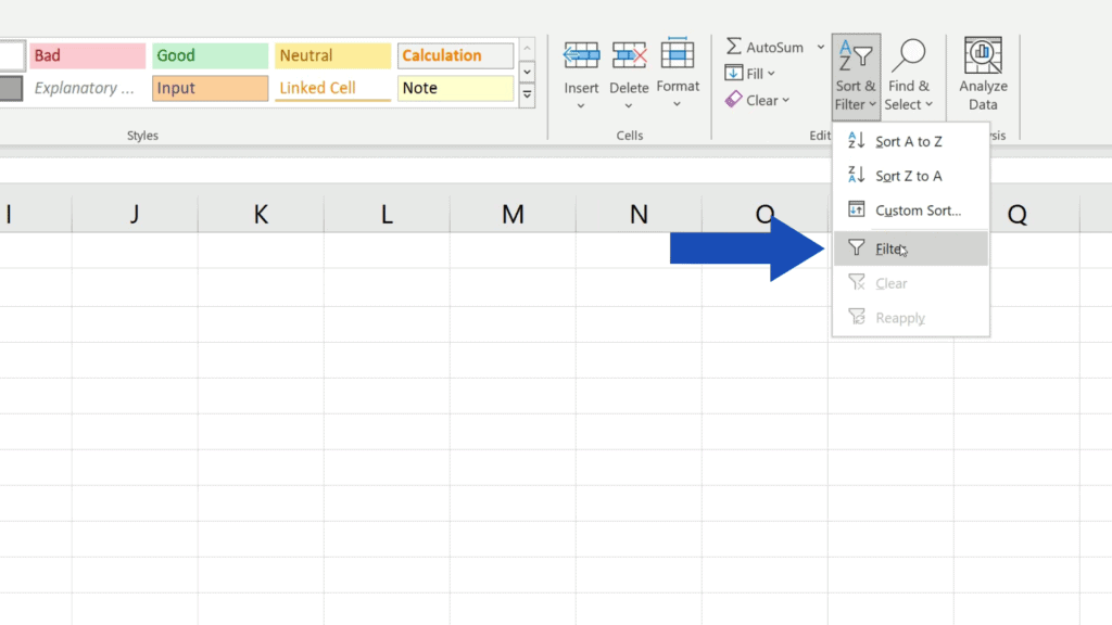 How to Compare Two Columns in Excel to Find Differences - choose 'Filter'