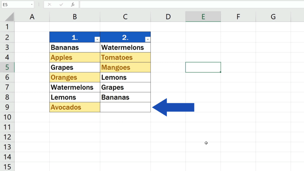 How to Compare Two Columns in Excel to Find Differences - display all the values unsorted