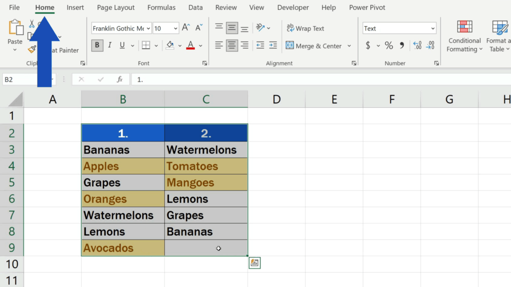 How to Compare Two Columns in Excel to Find Differences - go to the Home tab